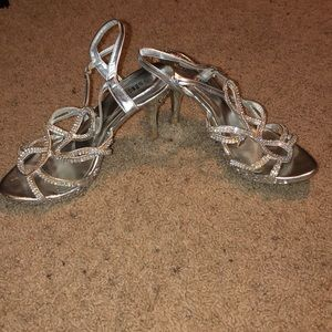 Silver High Heels Crystals Prom Shoes